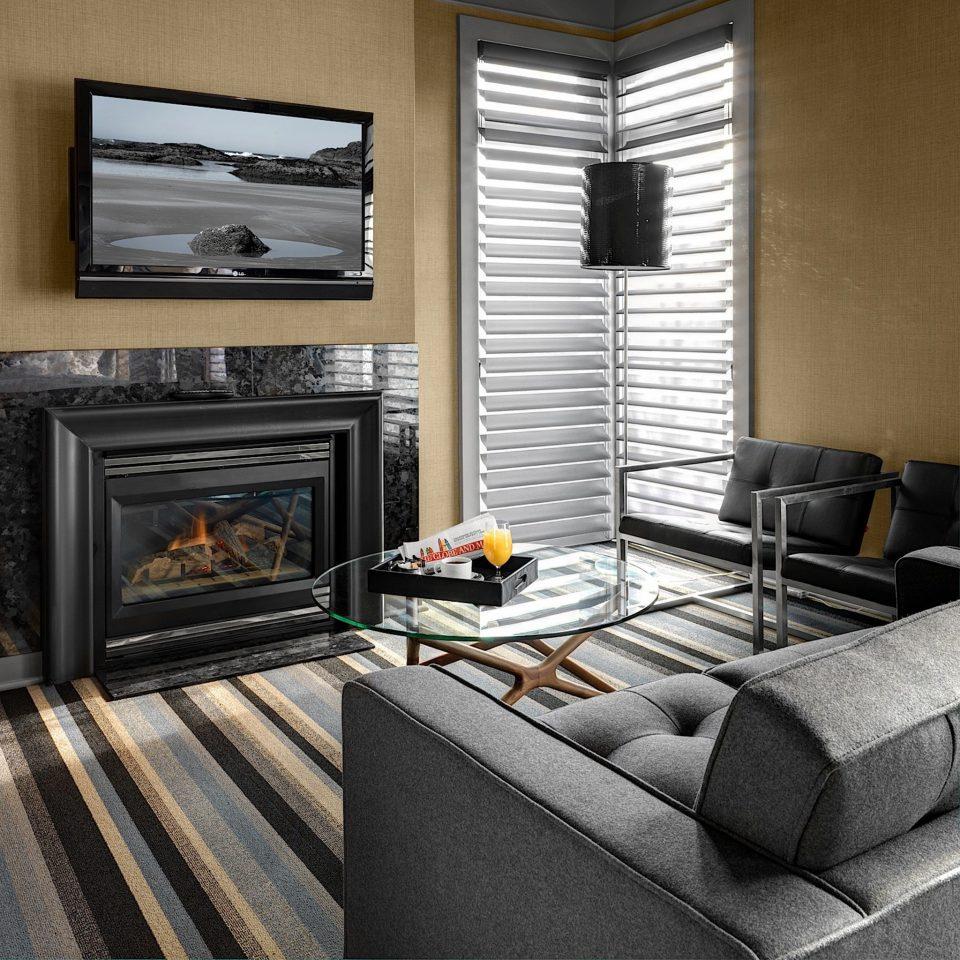 Fireplace Inn Modern sofa living room hearth home stone