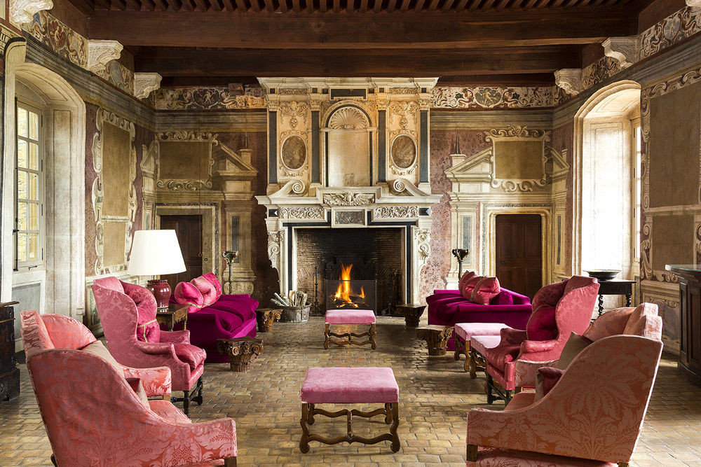 property living room building Fireplace mansion pink palace Lobby home