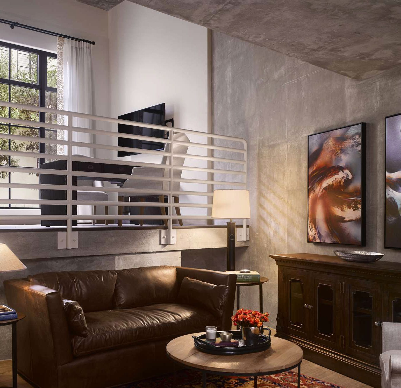 living room property home Fireplace house condominium loft Lobby mansion leather set