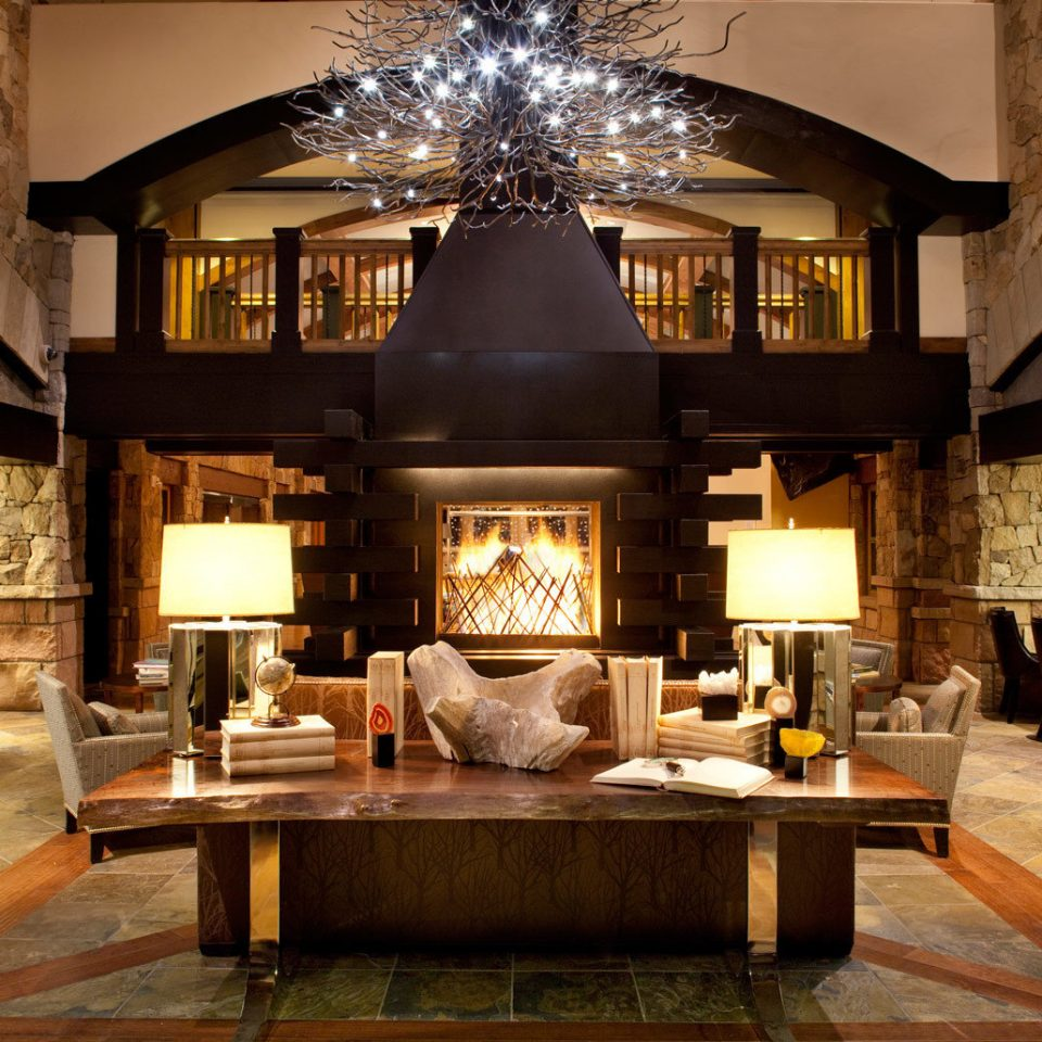 Fireplace Lobby Lodge Lounge Rustic living room property home house mansion Villa farmhouse