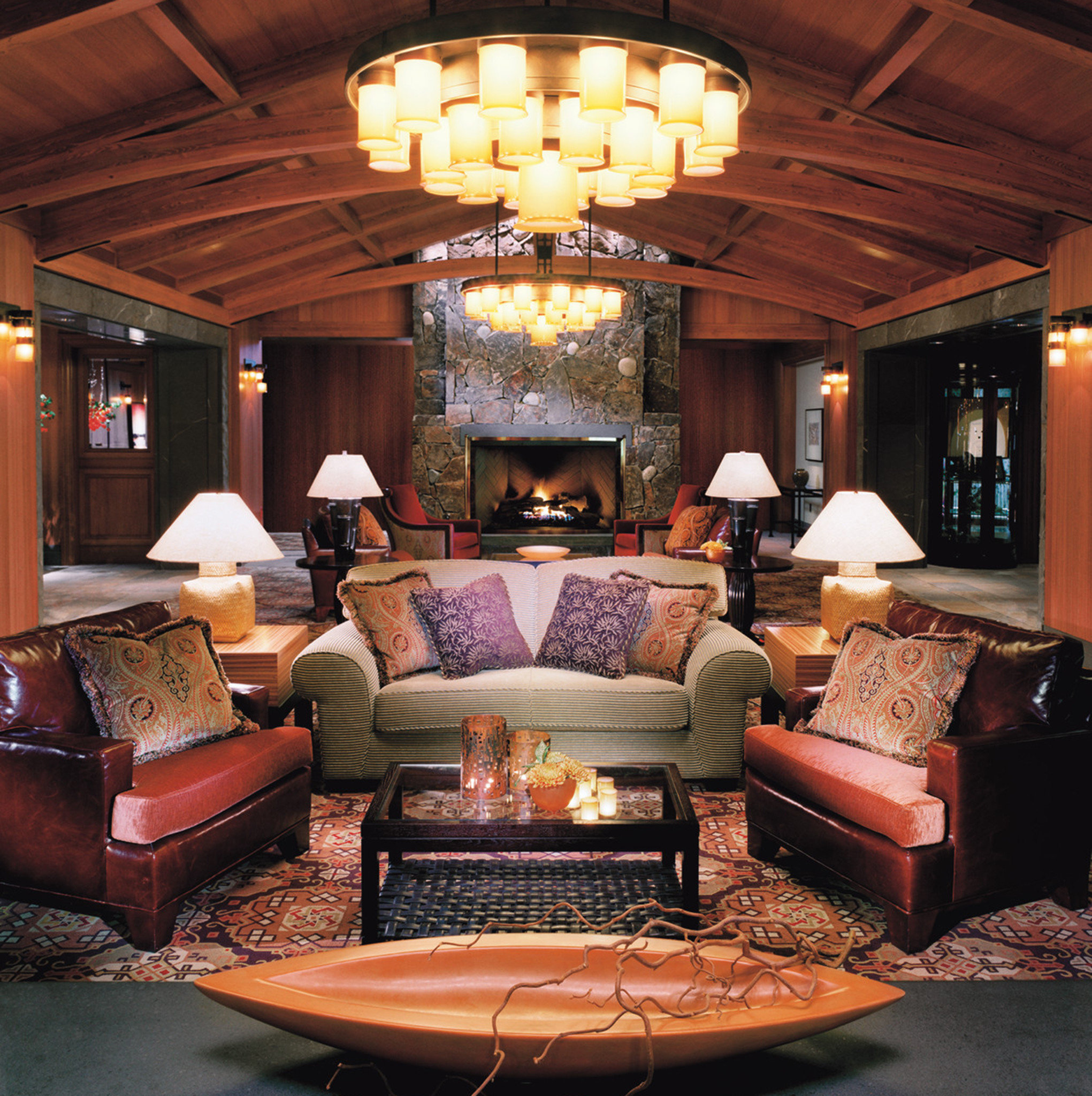 Fireplace Lounge Luxury Resort living room home lighting Lobby recreation room
