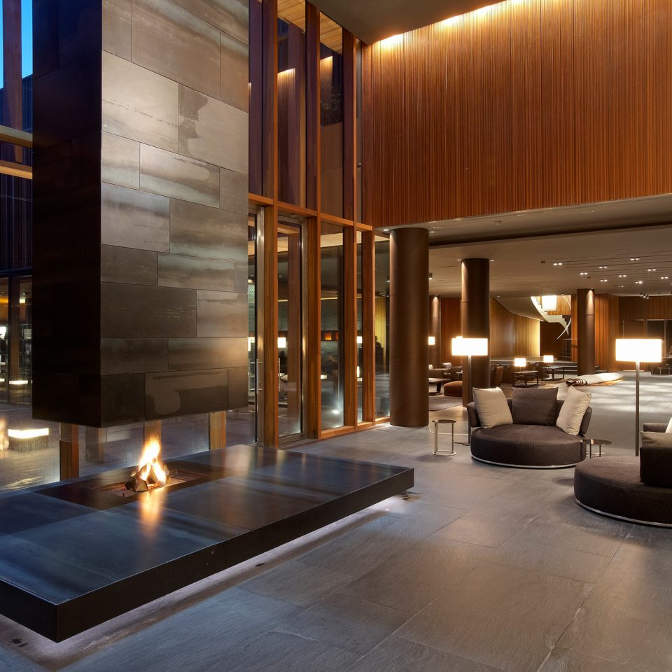 Fireplace Lounge Modern Resort Lobby building lighting home living room tourist attraction flooring