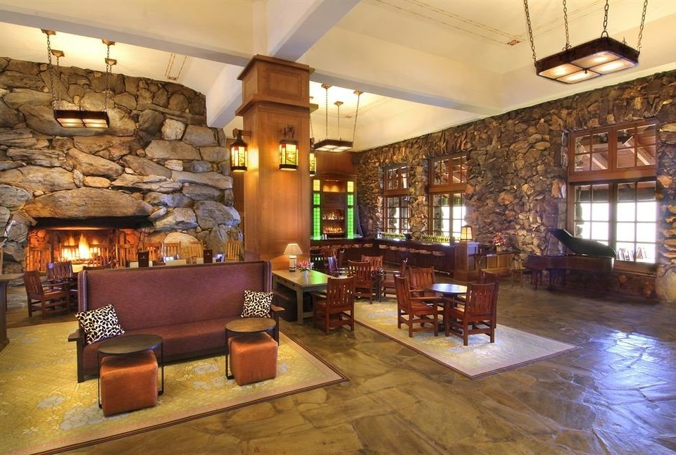 Fireplace Lounge Resort Lobby property home living room recreation room mansion stone