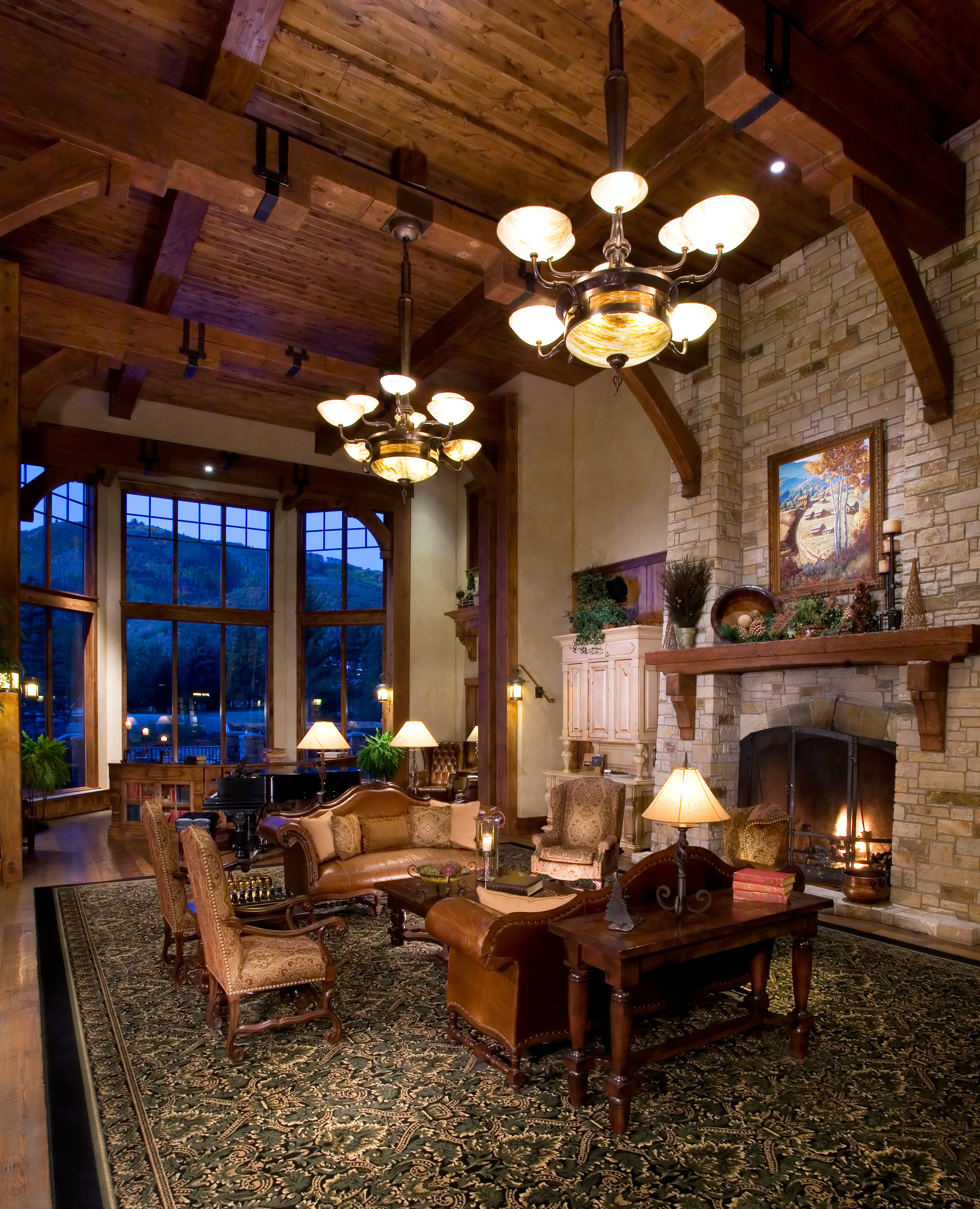 Fireplace property building home house living room lighting cottage farmhouse restaurant mansion log cabin Resort Lobby Villa