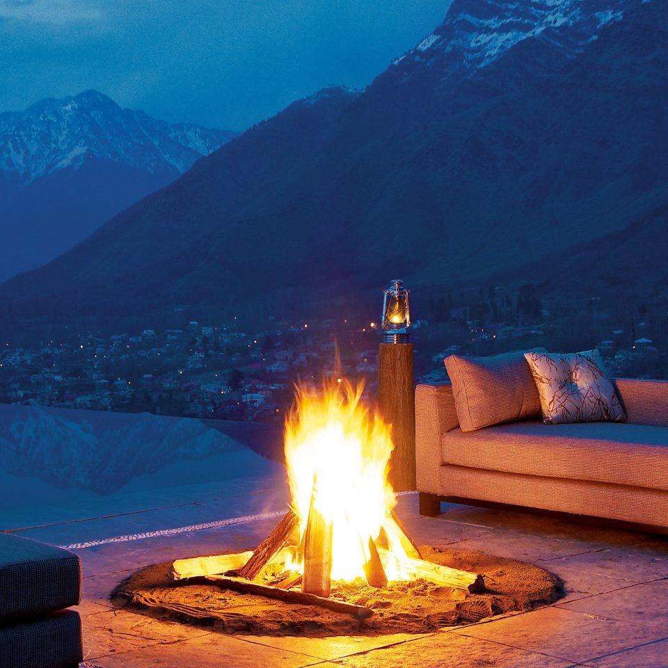 Fireplace Lounge Luxury Outdoors Patio Resort Scenic views fire mountain night morning evening