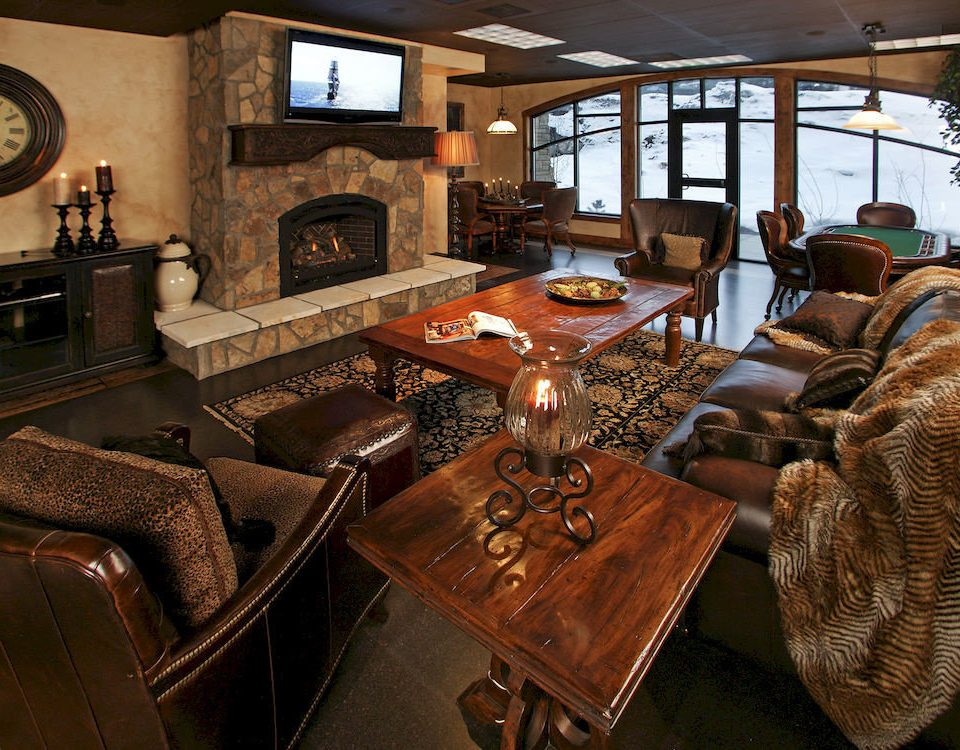 Fireplace Lounge Resort living room home leather