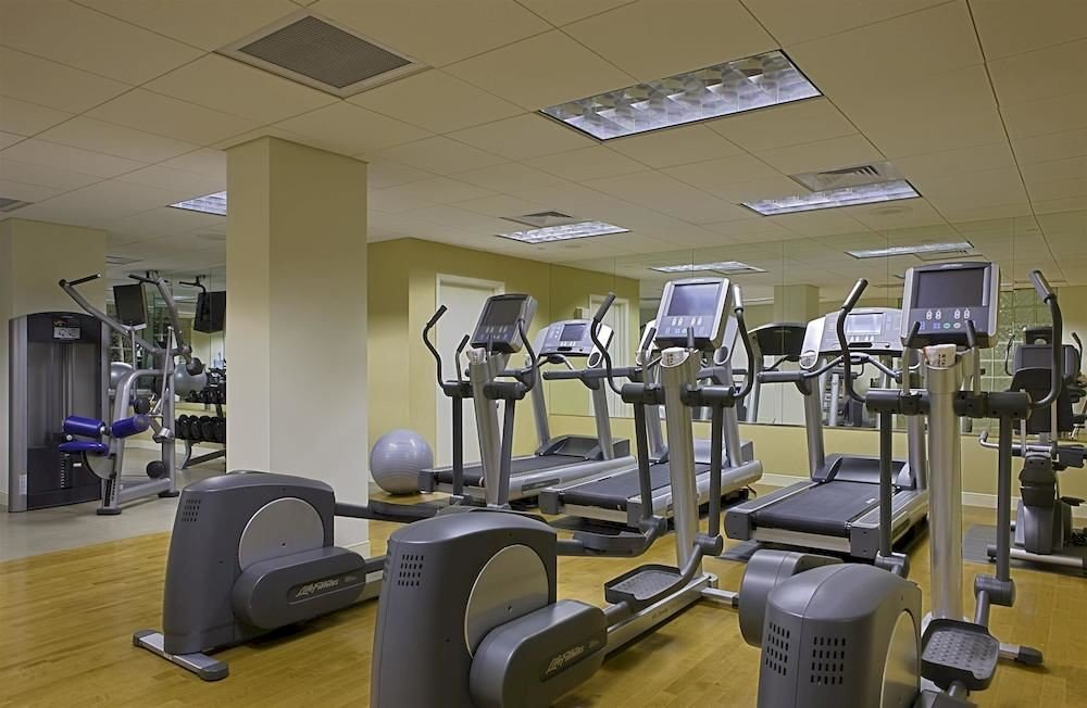 Fitness structure gym sport venue desk office cluttered