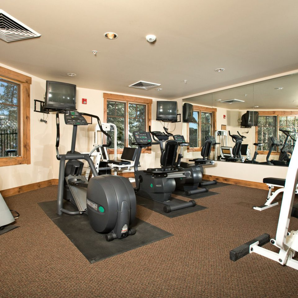 Fitness Lodge Rustic Wellness structure Sport gym exercise device sport venue office muscle condominium physical fitness cluttered
