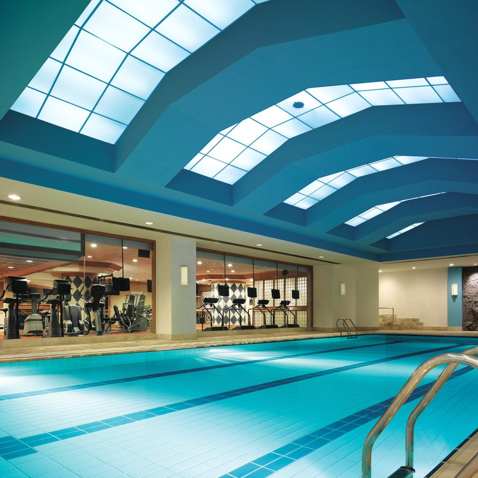 Fitness Lounge Pool Sport Wellness swimming pool leisure building blue leisure centre daylighting convention center Resort headquarters empty colonnade