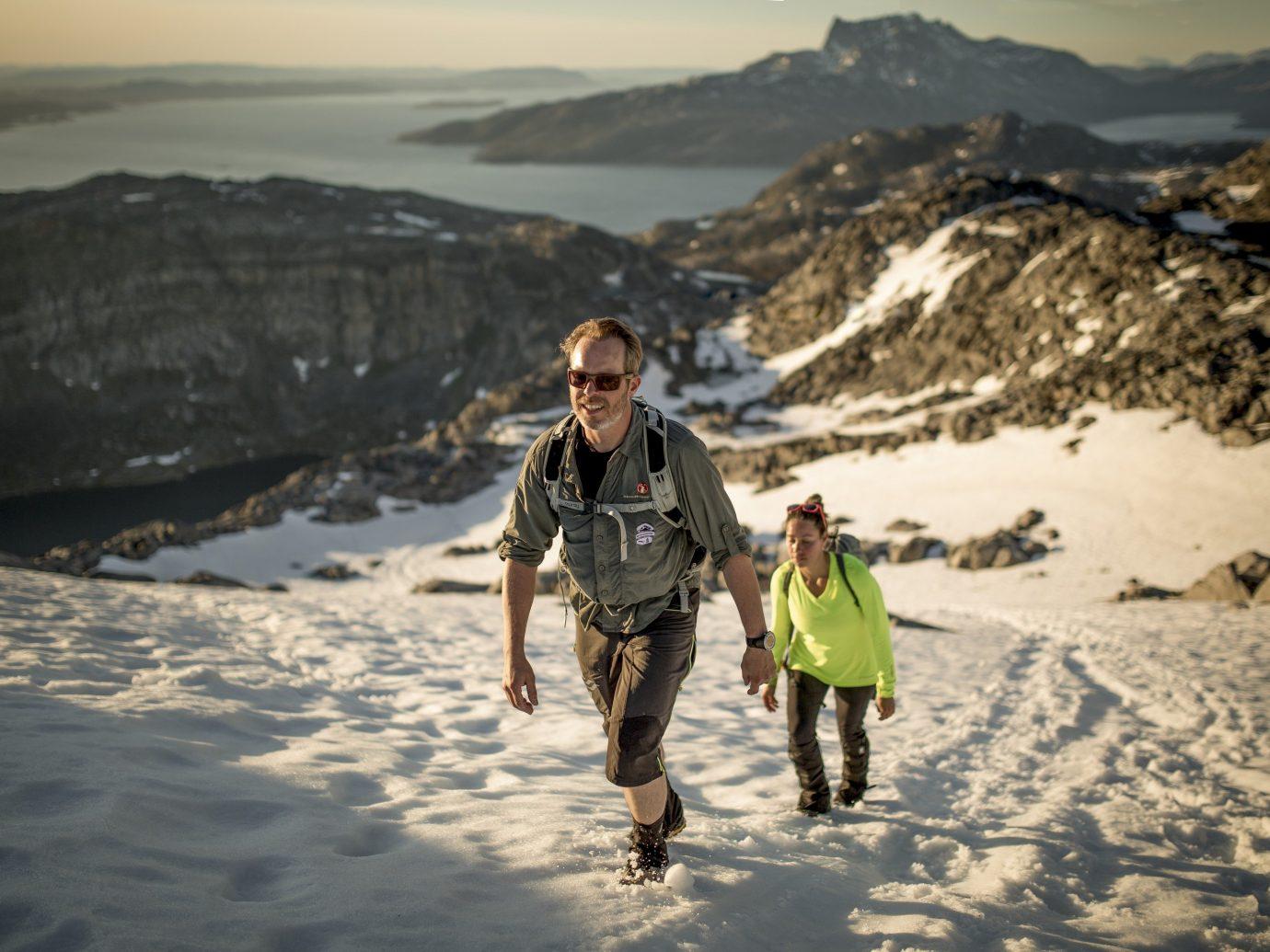 Trip Ideas outdoor snow mountain Nature mountainous landforms person Winter weather season vacation walking mountain range Adventure Sea mountaineering summit slope