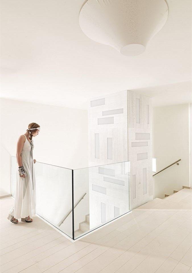 white hall flooring