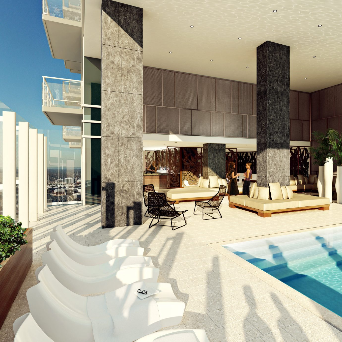 Food + Drink Lounge Luxury Modern Pool property condominium swimming pool home Villa mansion