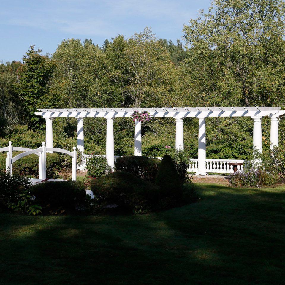 tree sky grass building bridge Garden park backyard outdoor structure arch bushes Forest lush