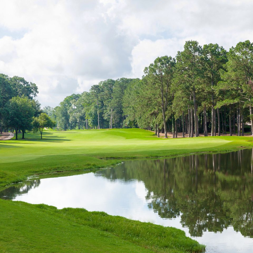 Golf Outdoor Activities Resort tree grass sky water River structure Lake Nature sport venue golf course green golf club outdoor recreation sports recreation Forest meadow pond surrounded lush wooded
