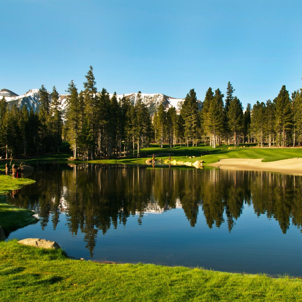 tree sky grass water Lake Nature wilderness structure green sport venue golf course pond meadow Forest mountain landscape mountain range golf club autumn reservoir surrounded lush wooded hillside land