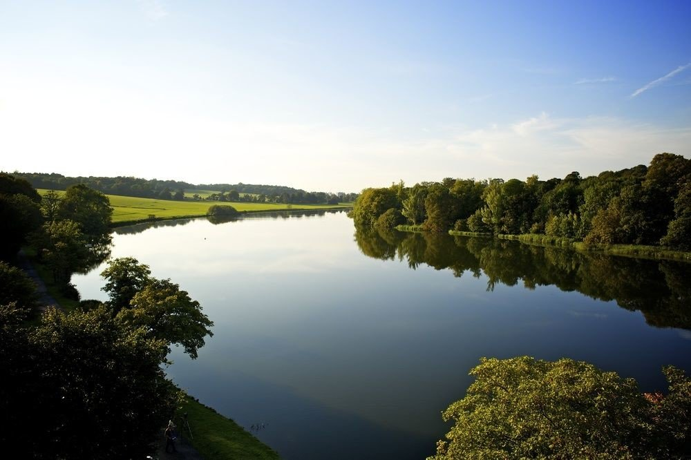 tree water sky River Lake Nature reservoir loch tarn landscape pond waterway surrounded traveling Forest land hillside