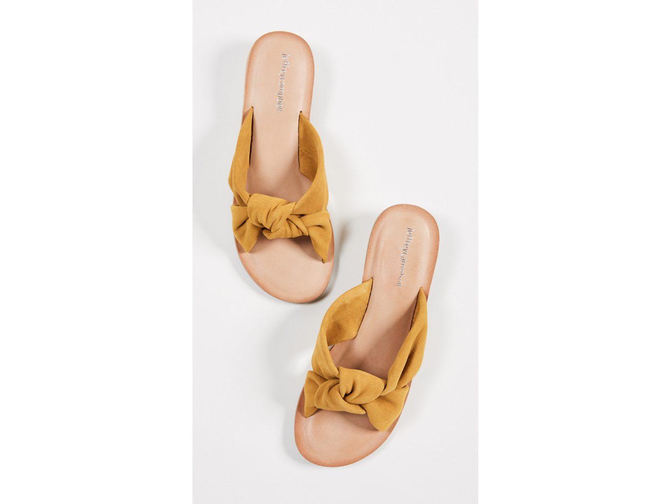 City Palm Springs Style + Design Travel Shop footwear yellow shoe sandal ballet flat outdoor shoe peach product design flip flops beige different
