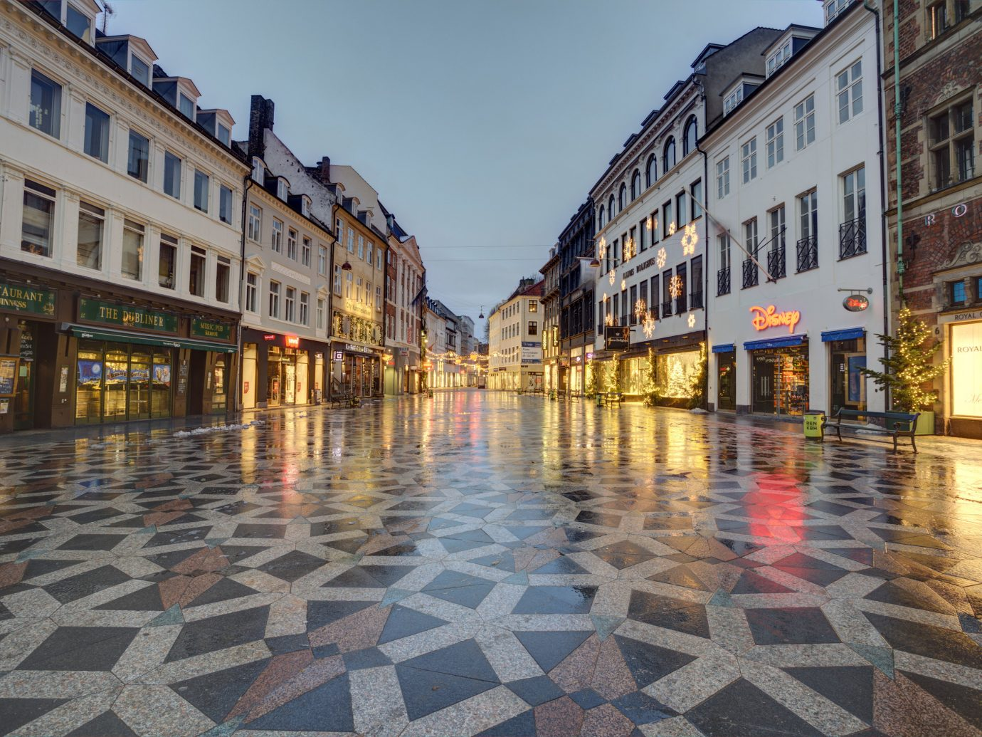 Copenhagen Denmark Trip Ideas Town reflection water City town square street sky evening building tourist attraction road surface Downtown facade plaza pedestrian mixed use cobblestone road