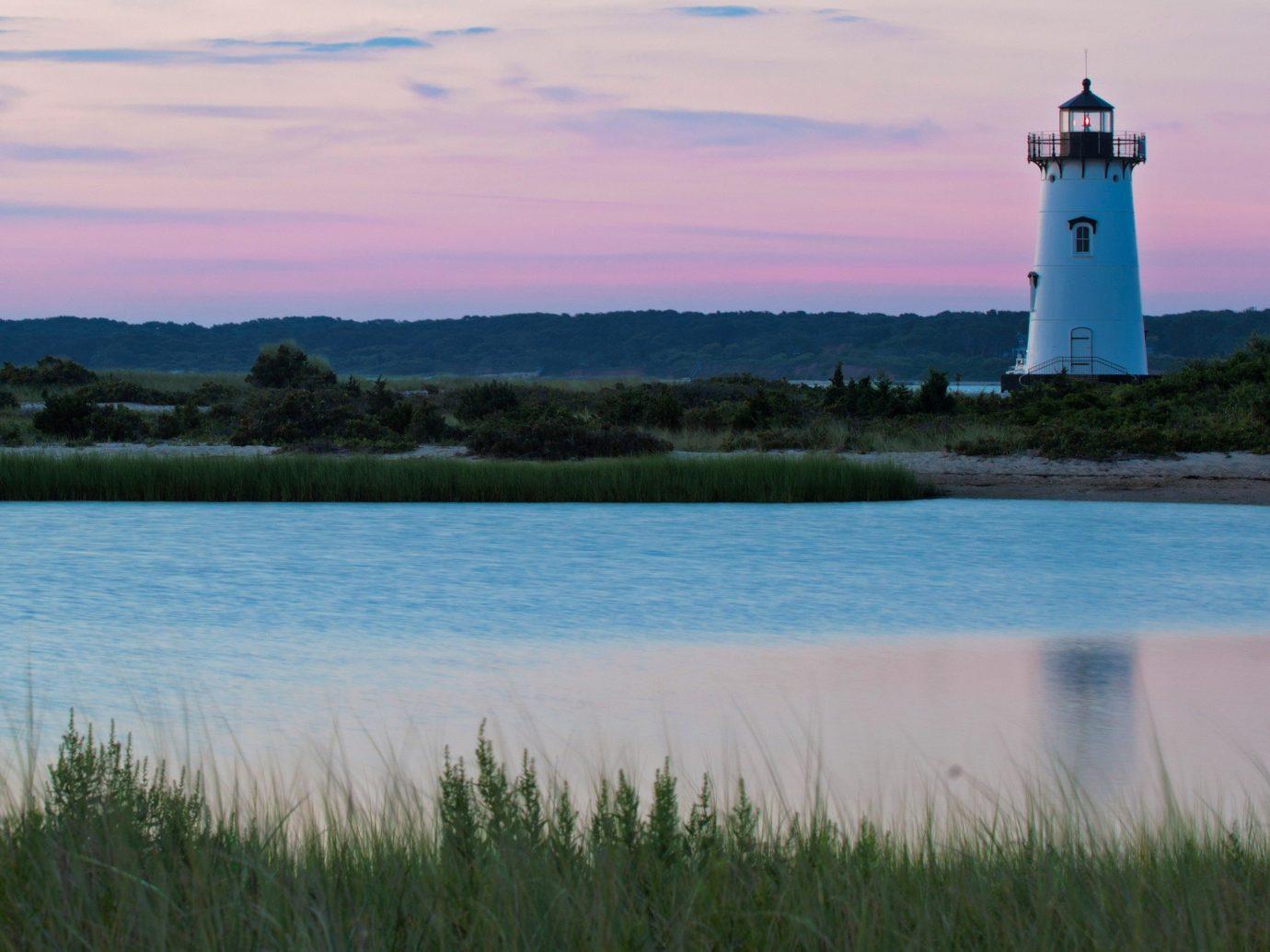 Beach outdoor water sky grass tower lighthouse Lake shore Sea horizon reflection Coast loch dawn bay marsh dusk Sunset distance