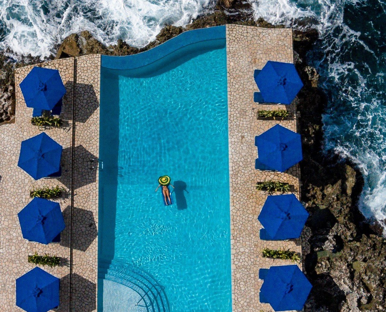 Aerial view of the pool at Rockhouse Hotel