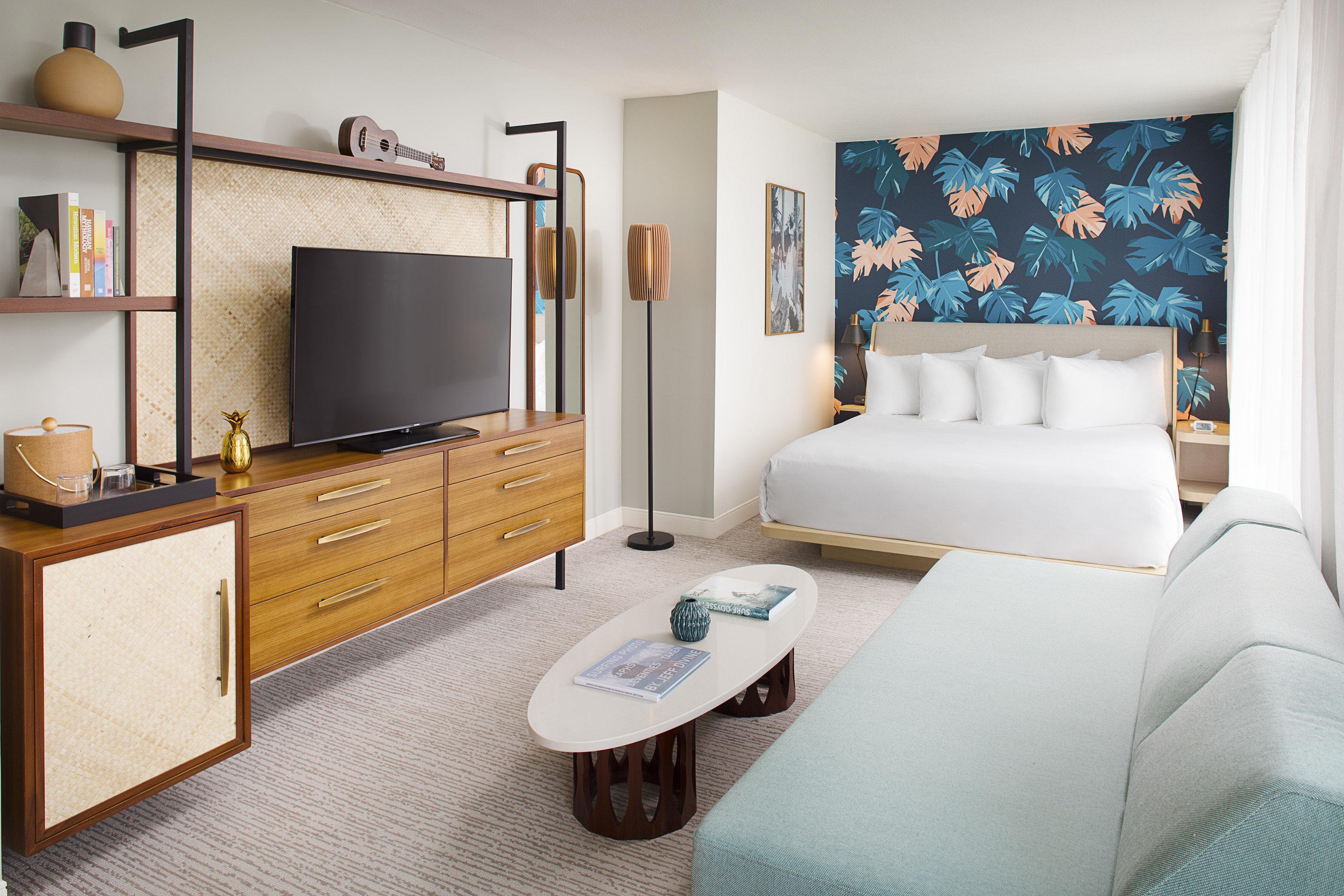 Boutique Hotels Hawaii Honolulu Hotels wall indoor floor room Living interior design living room Suite furniture Bedroom bed frame interior designer
