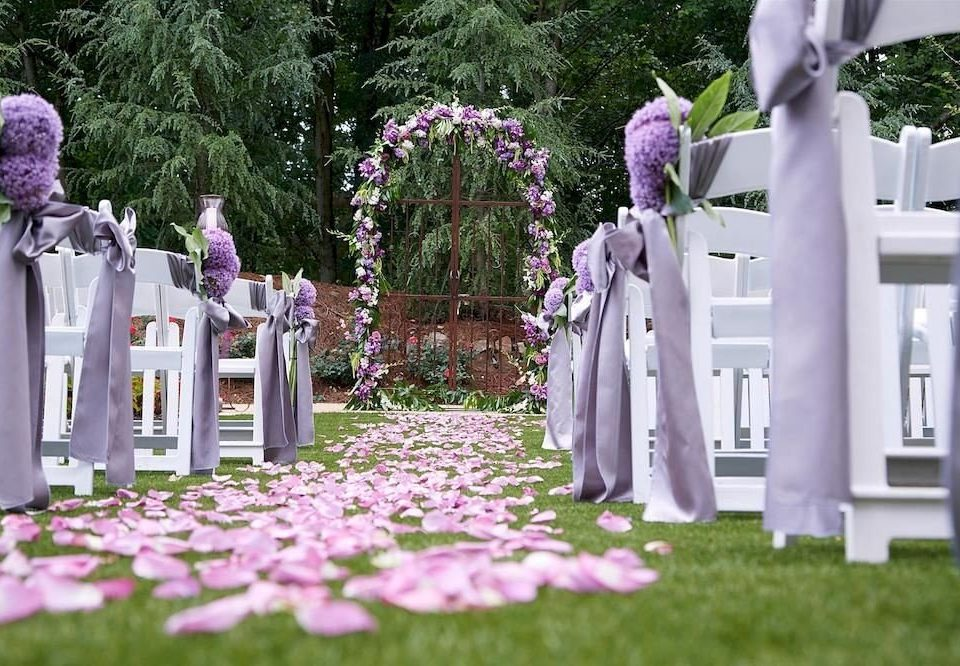 tree grass aisle flower ceremony wedding grave cemetery floristry Garden memorial purple backyard set arranged