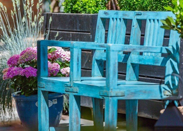 seat flower backyard Garden blue colorful