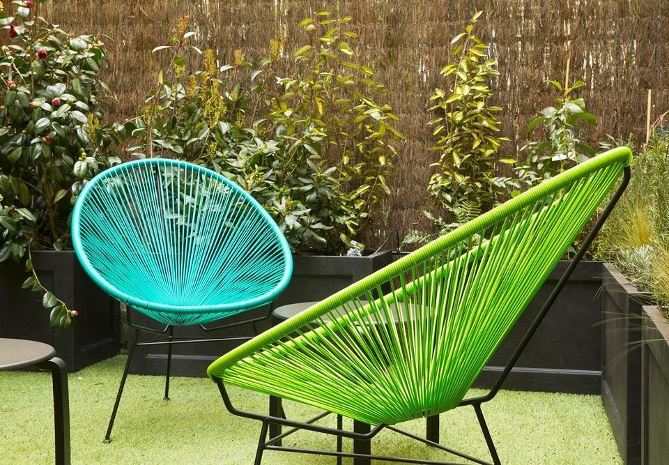 green leisure hammock wicker backyard chair lawn Garden metal tree plant net
