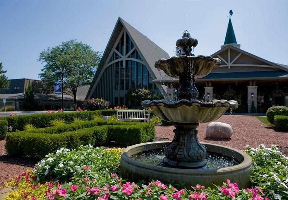 sky building fountain Garden water feature flower monument shrine botanical garden stone bushes