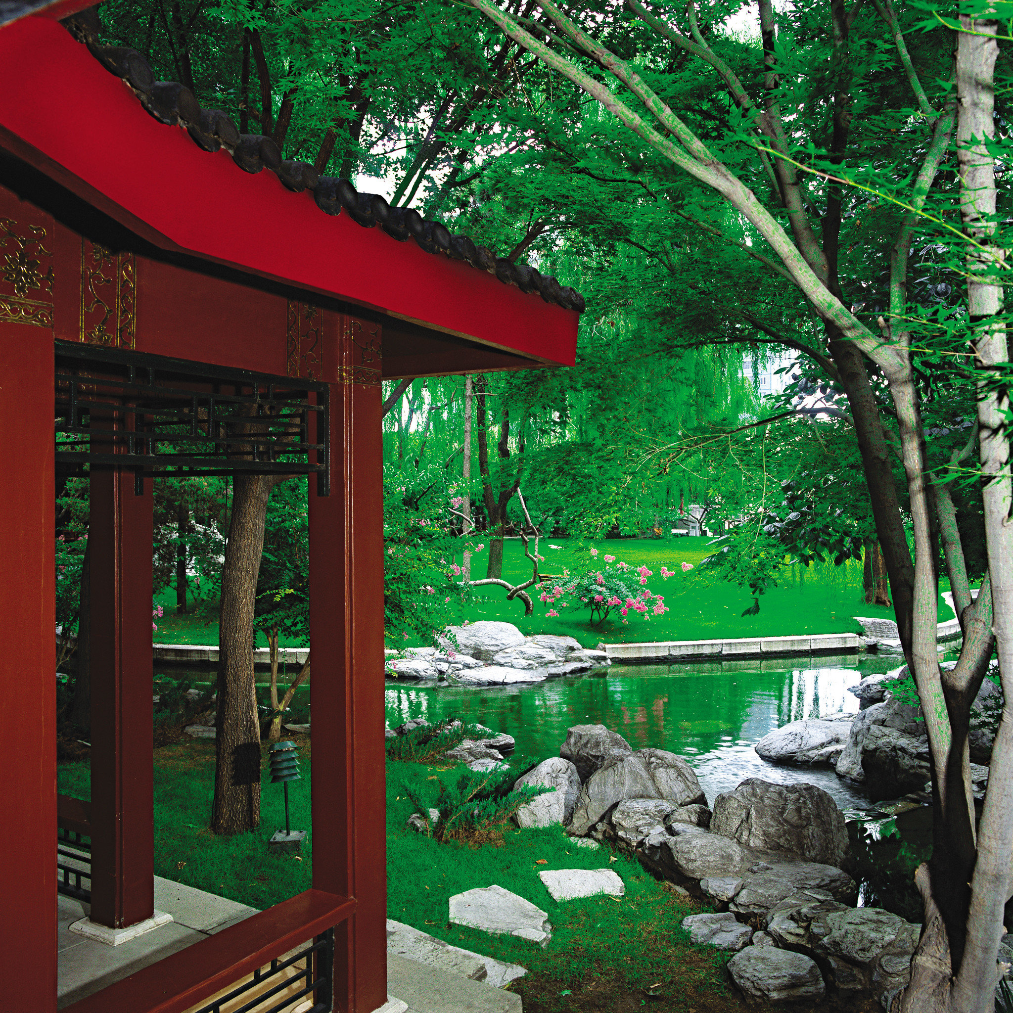 Garden Grounds Nature tree green red botany house shinto shrine backyard shrine outdoor structure yard flower Jungle porch lush