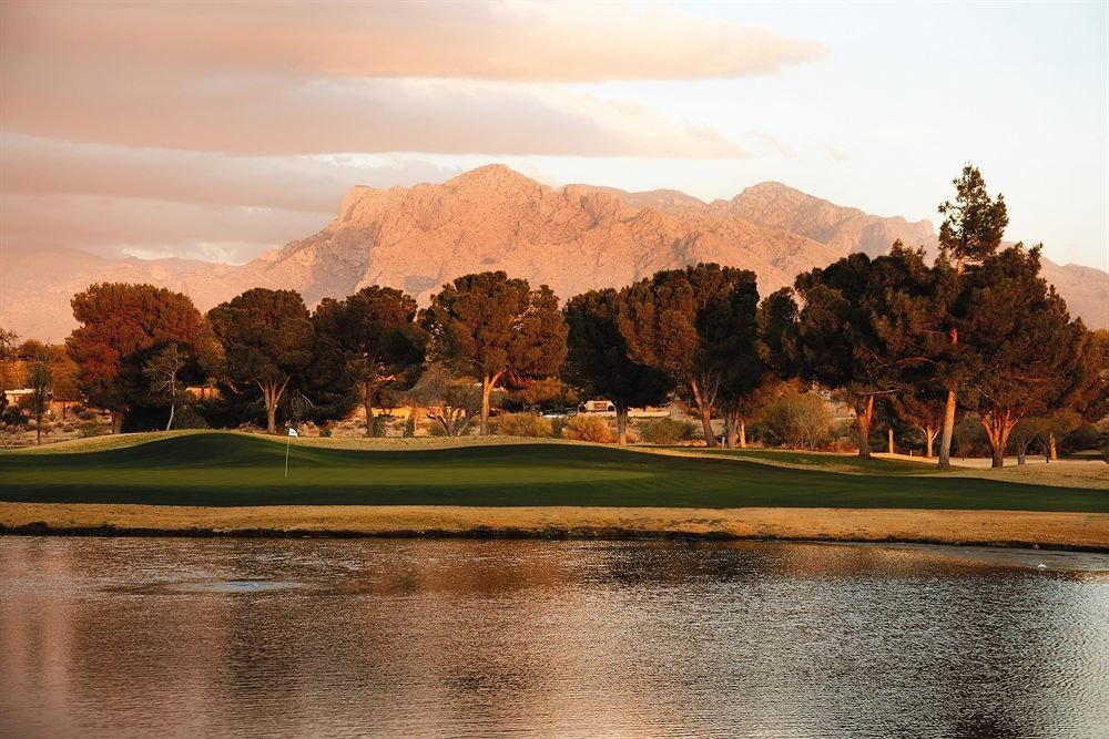 Garden Grounds Mountains Outdoors sky water mountain Nature structure sport venue morning hill Lake golf course landscape Sunset dusk golf club pond