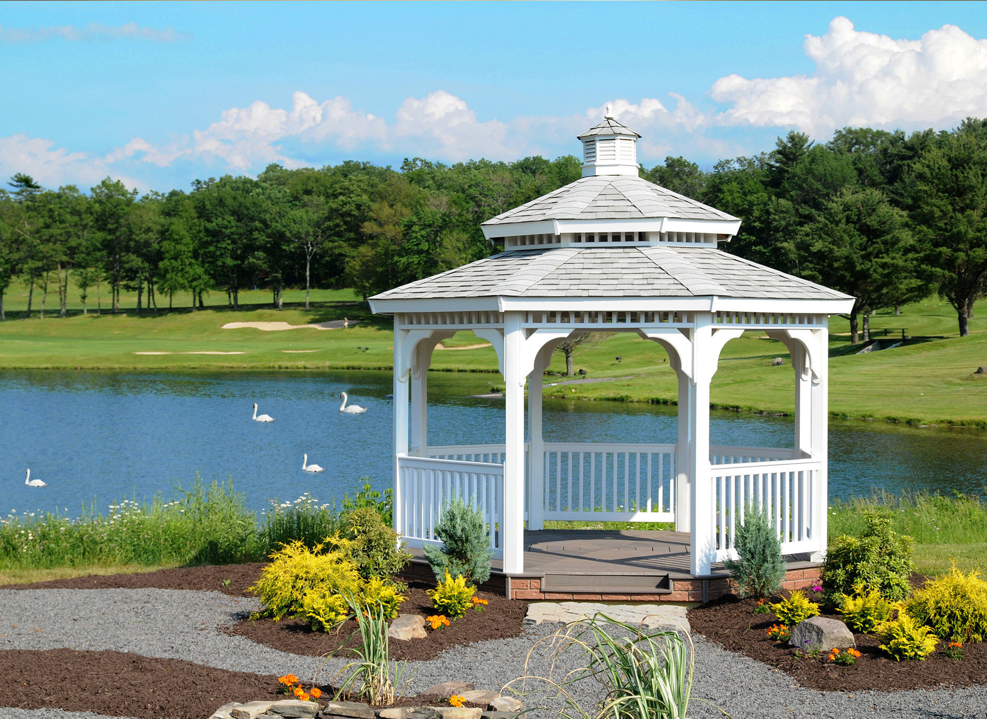 tree grass sky building gazebo Lake flower outdoor structure park pavilion Garden pond surrounded stone