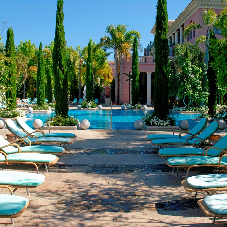 Lounge Luxury Modern Scenic views tree sky chair leisure swimming pool Resort backyard lined lawn Garden yard colorful line surrounded