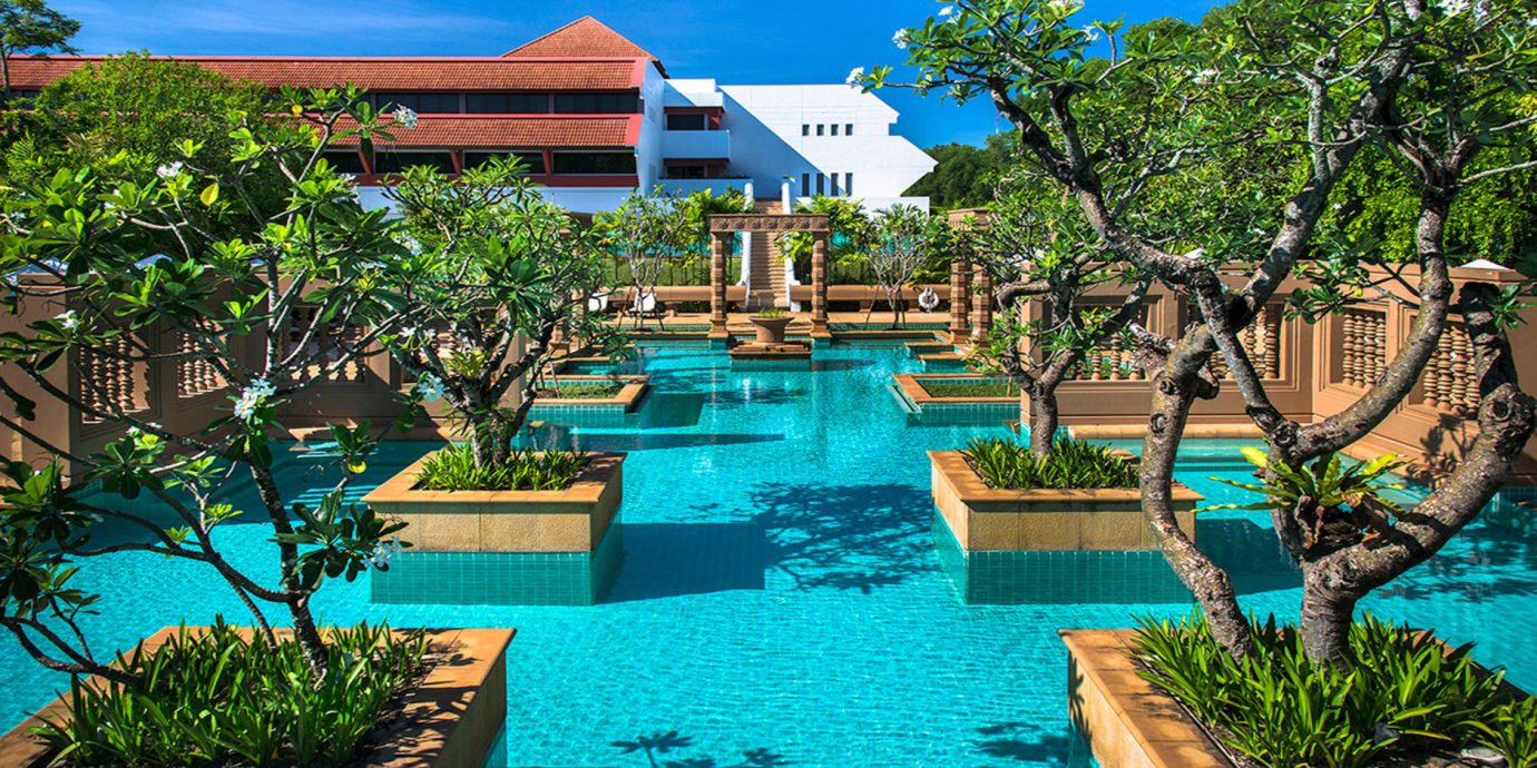 tree swimming pool Resort leisure property Pool backyard Villa lawn eco hotel plant Garden set lined shade swimming day