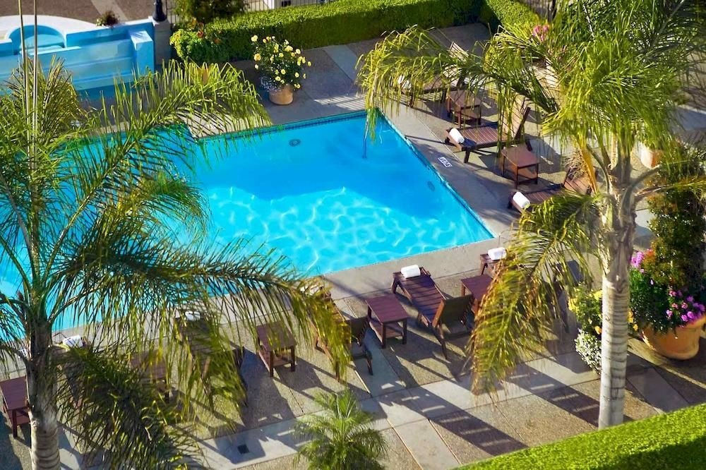 tree plant swimming pool property leisure Resort palm Villa backyard Pool condominium colorful lined Garden