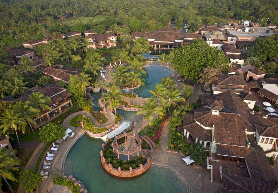 tree bird's eye view aerial photography residential area Town neighbourhood Resort suburb Village amusement park park plant mansion Water park Garden stone
