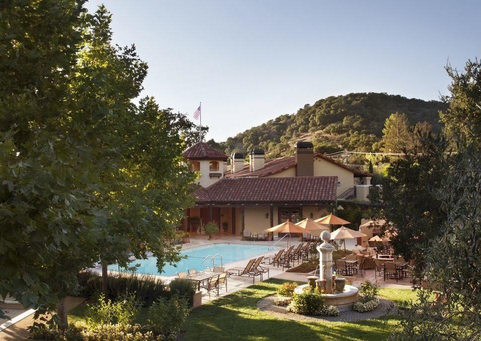 tree house property Resort home Villa cottage Village mansion Garden surrounded lush hillside