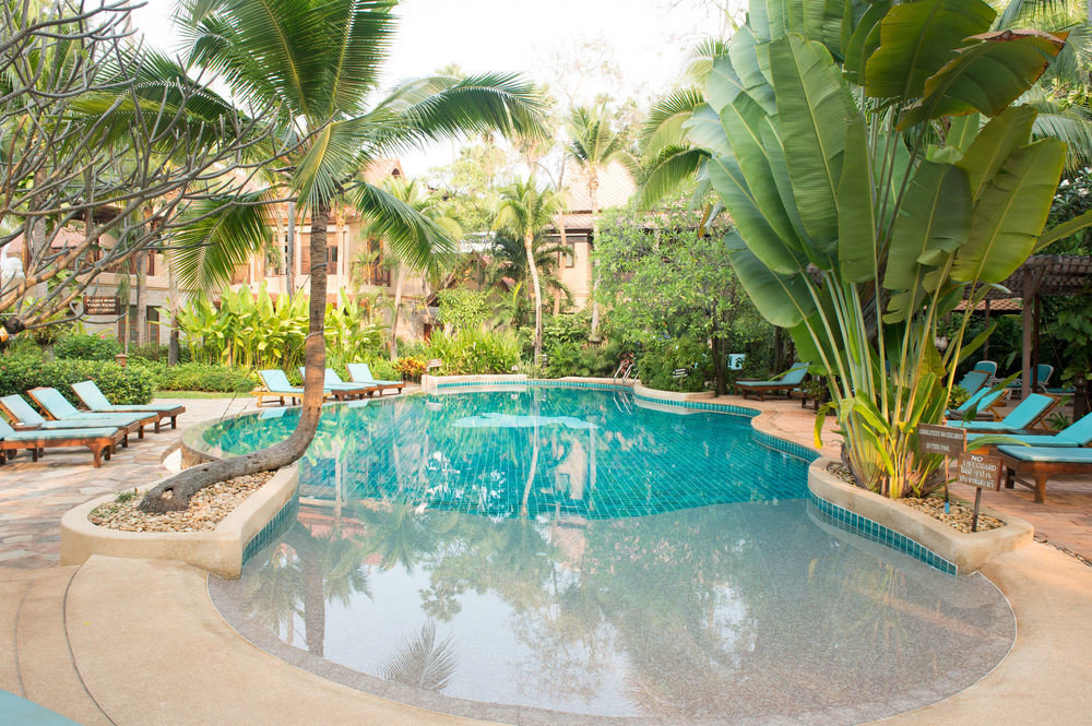tree swimming pool property plant Resort backyard Villa Water park hacienda palm Garden