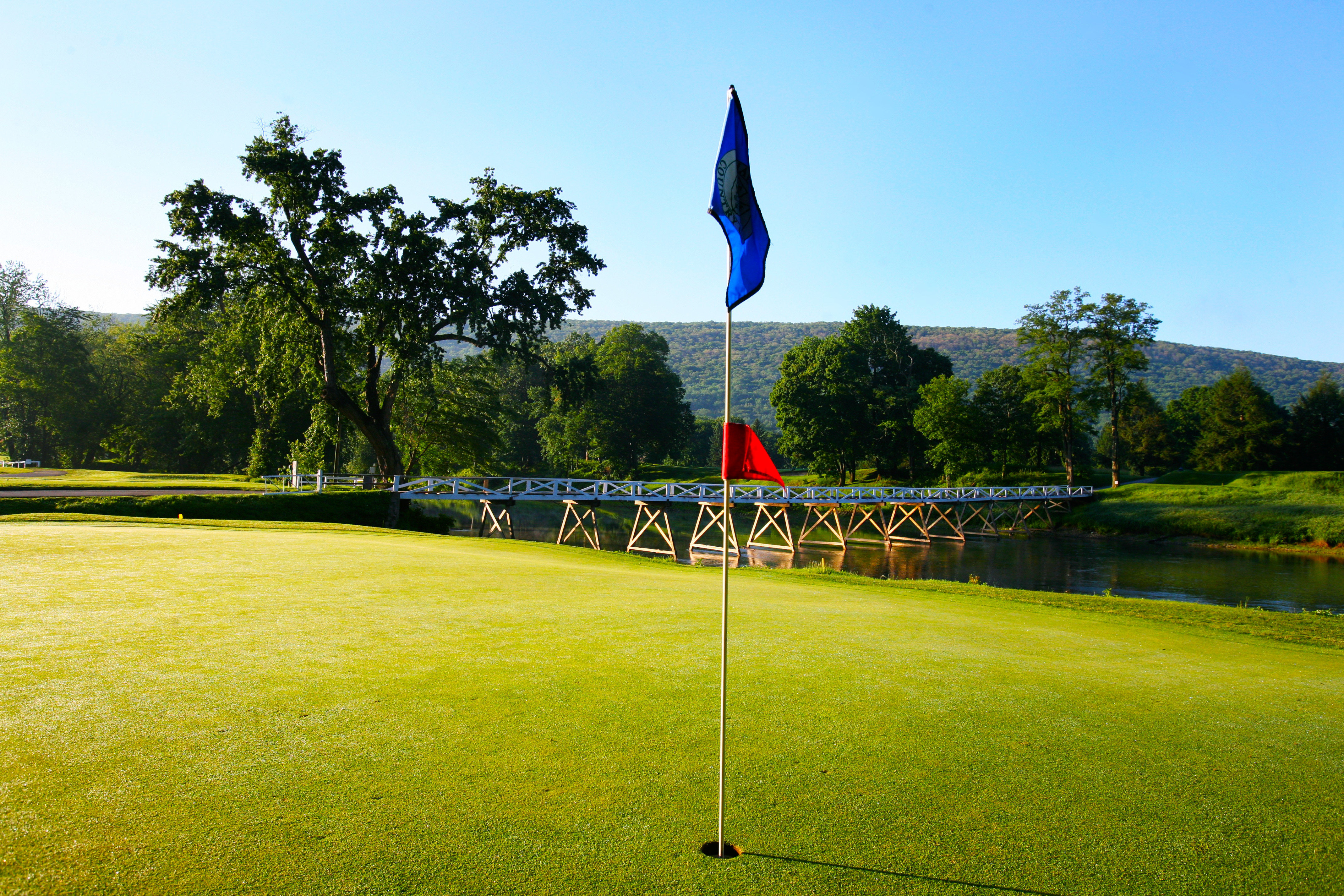 grass sky tree structure green field sport venue atmosphere of earth outdoor recreation sports lawn stadium Golf golf course recreation park lush