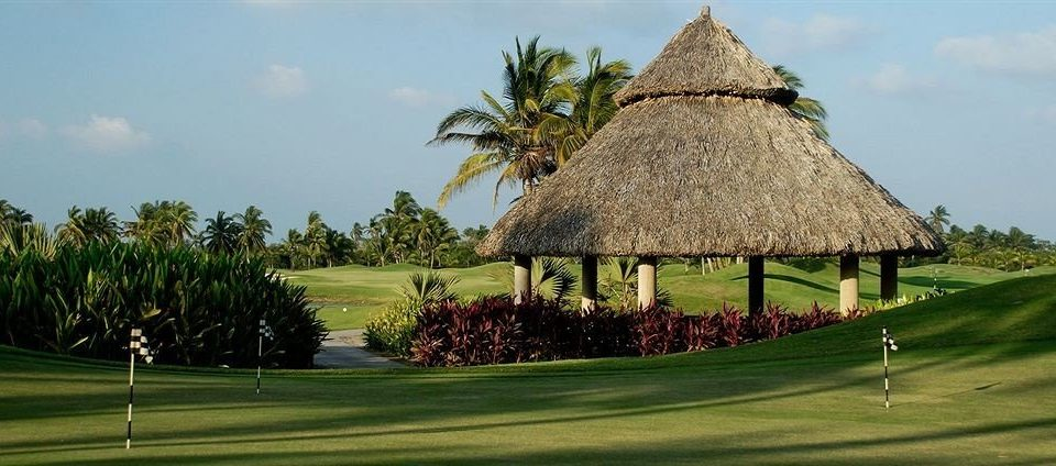 Golf Honeymoon Resort Sport Waterfront grass tree sky structure sport venue field golf course lawn palm roof