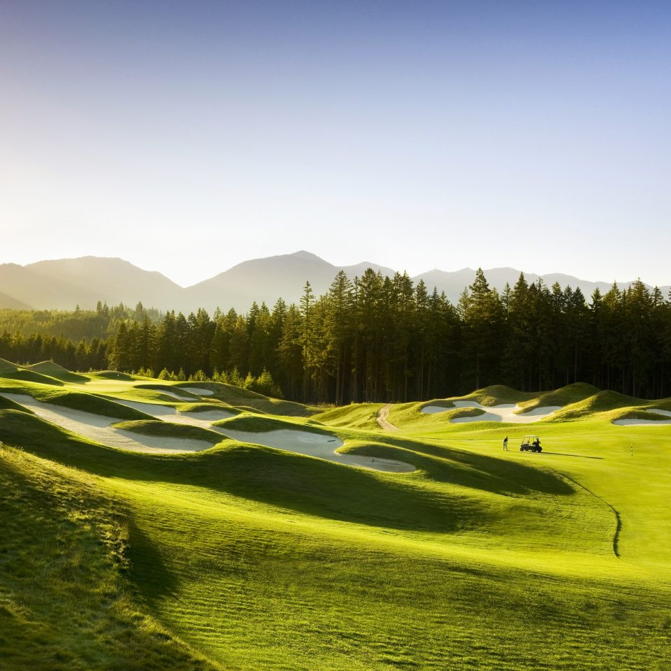 Golf Mountains Natural wonders Nature Outdoor Activities Outdoors Resort Rustic Sport sky grass structure grassland sport venue sports golf course hill golf club meadow outdoor recreation plain field landscape plant recreation mountain day distance lush highland