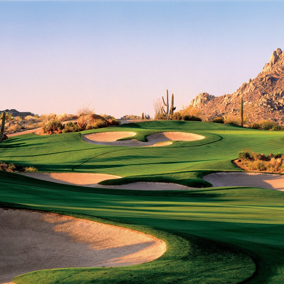 Golf Mountains Outdoors Scenic views grass sky structure sports sport venue golf course grassland golf club outdoor recreation recreation day