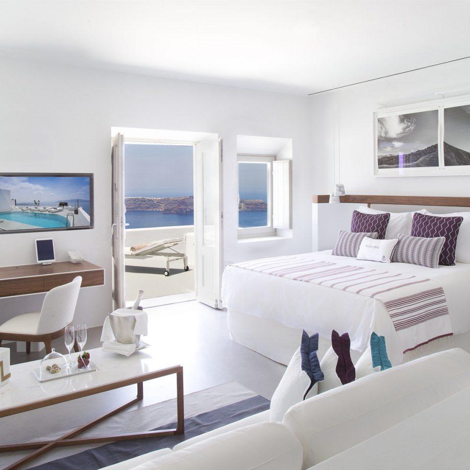 Greece Hotels Romance Santorini property white living room condominium home Suite Modern