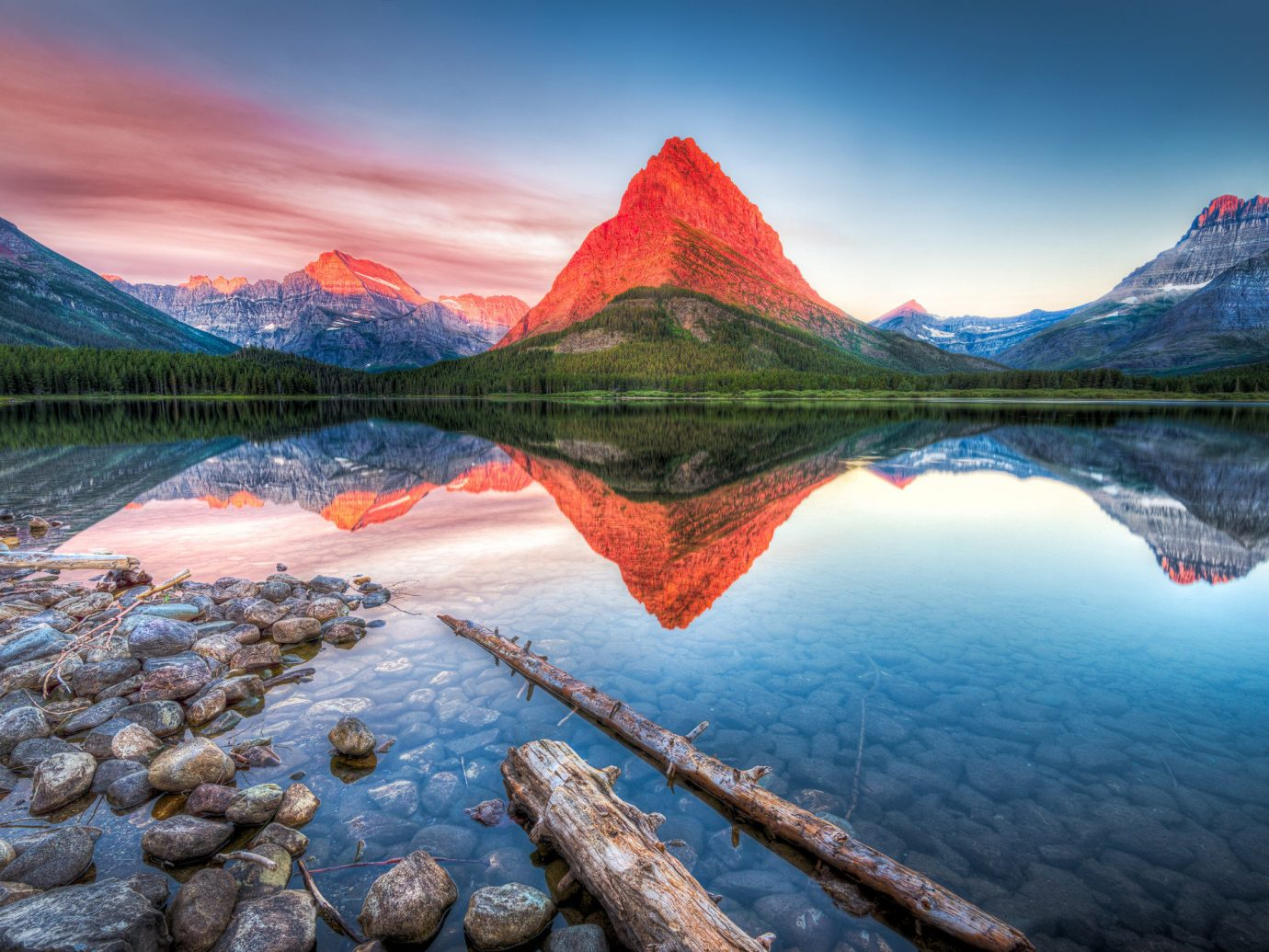 National Parks Outdoors + Adventure Trip Ideas sky water mountainous landforms outdoor Nature mountain reflection landform wilderness mountain range Sea Lake morning sunrise leaf landscape dawn fjord autumn computer wallpaper colorful colored