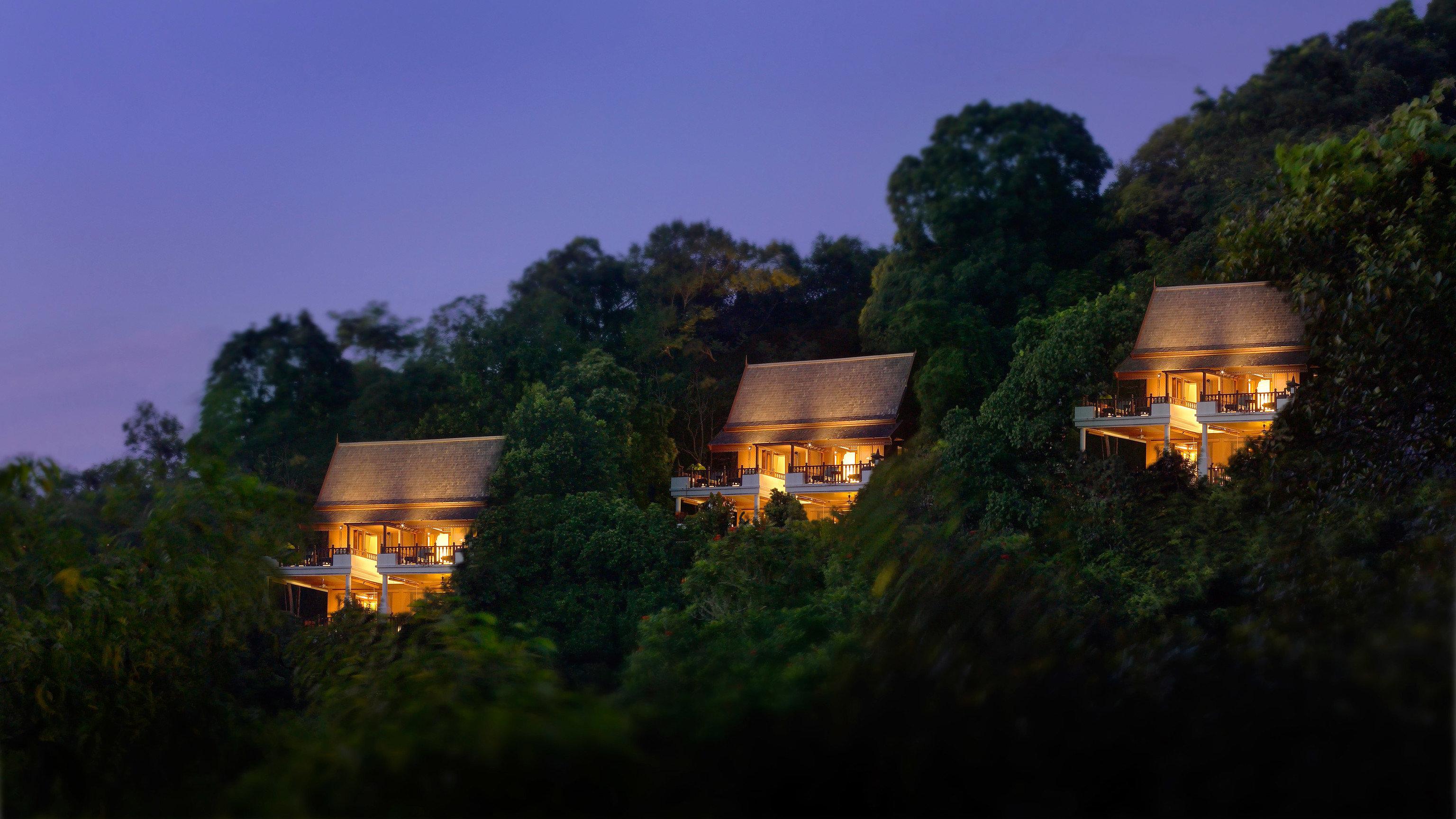 Hotels tree outdoor house yellow night light lighting screenshot