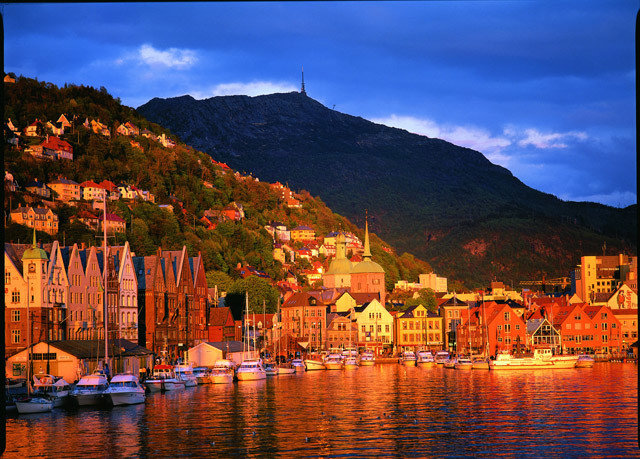 sky mountain Town night evening River Lake cityscape dusk Sea Harbor Sunset