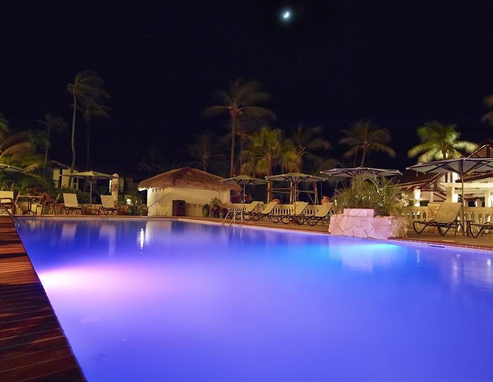 Lounge Luxury Pool water swimming pool night scene Resort blue evening Harbor landscape lighting