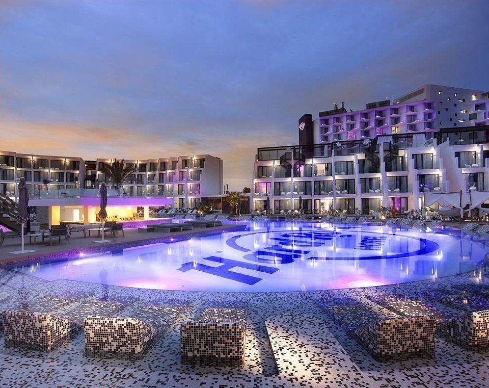 scene swimming pool property Harbor Resort night marina reflecting pool plaza condominium convention center
