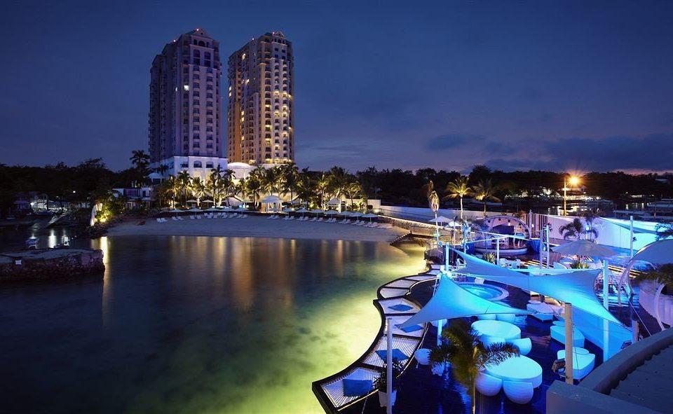 water River night landmark cityscape marina evening dusk skyline metropolis skyscraper Resort dock Harbor