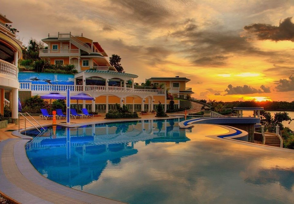 sky leisure swimming pool Resort Harbor evening clouds Sea cloudy